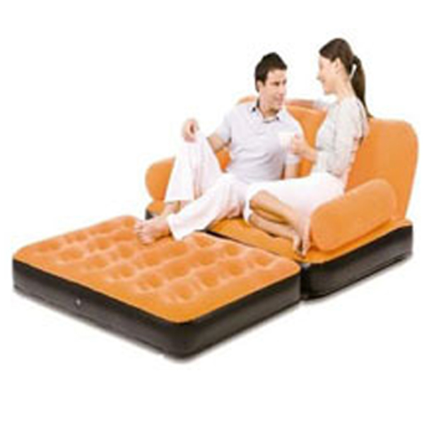 New Inflatable Double Flocked Couch Sofa Air Bed Seater