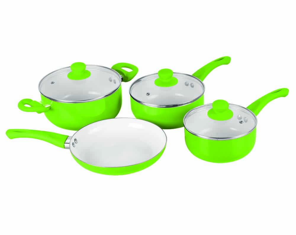 5 7 pc ceramic saucepan pot glass lid cookware set fry pan. Black Bedroom Furniture Sets. Home Design Ideas