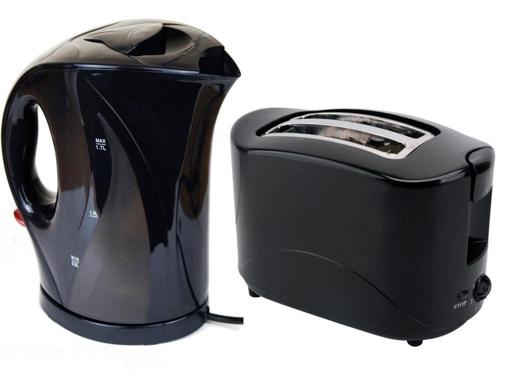 Black 1 7 litre jug electric kettle 2 slice toaster 750w for Kitchen set kettle toaster