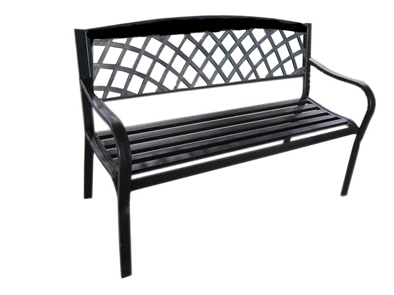 3 Seater Metal Wooden Garden Outdoor Lattice Back Park