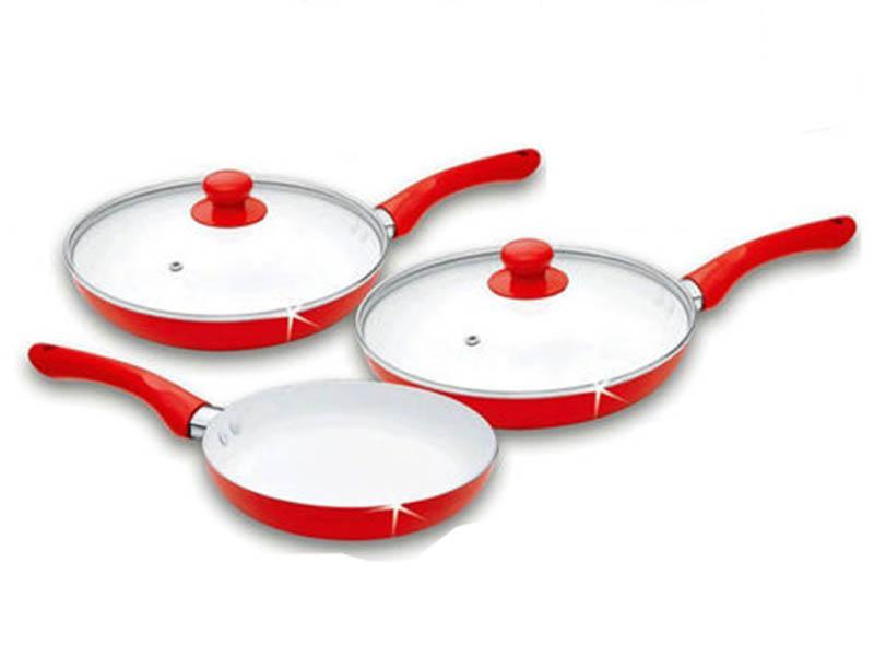 5 7 Pc Ceramic Saucepan Pot Glass Lid Cookware Set Fry Pan