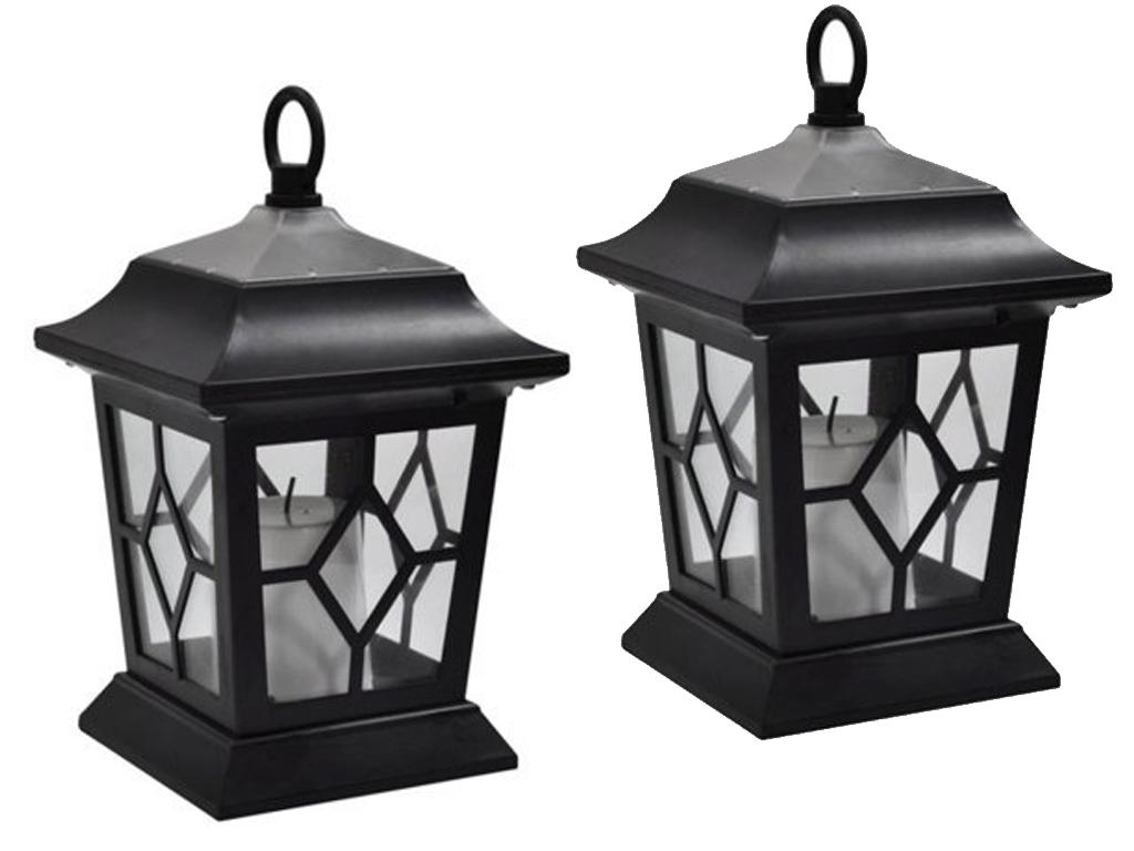 2 Led Solar Power Flickering Candle Lanterns Hanging Lamps