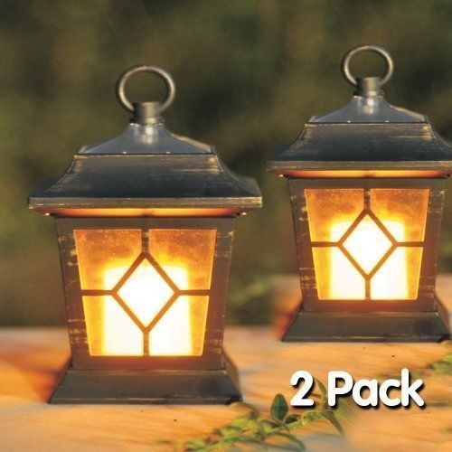 2 LED SOLAR POWER FLICKERING CANDLE LANTERNS HANGING LAMPS