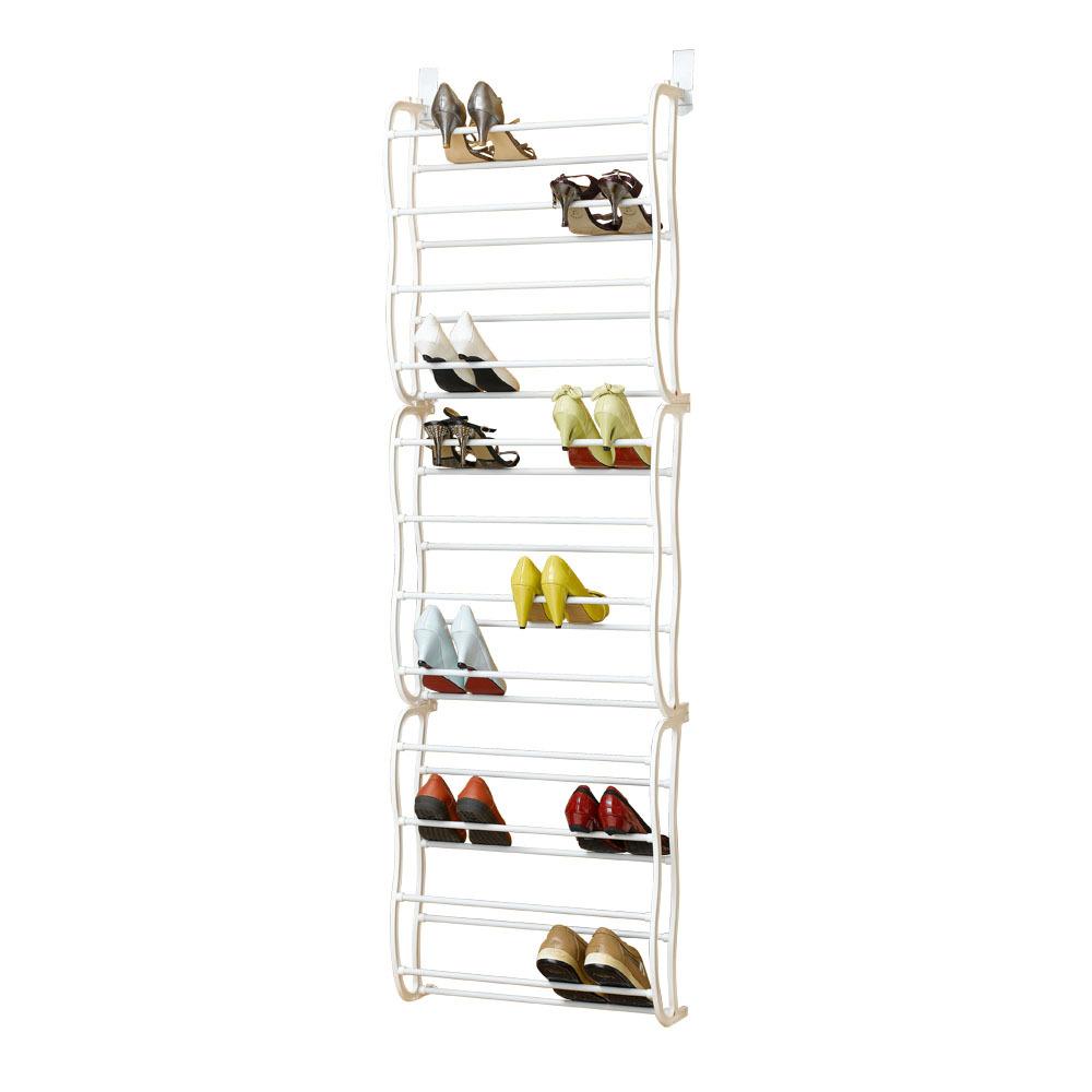 36 pair over the door hanging shoe hook shelf rack holder. Black Bedroom Furniture Sets. Home Design Ideas