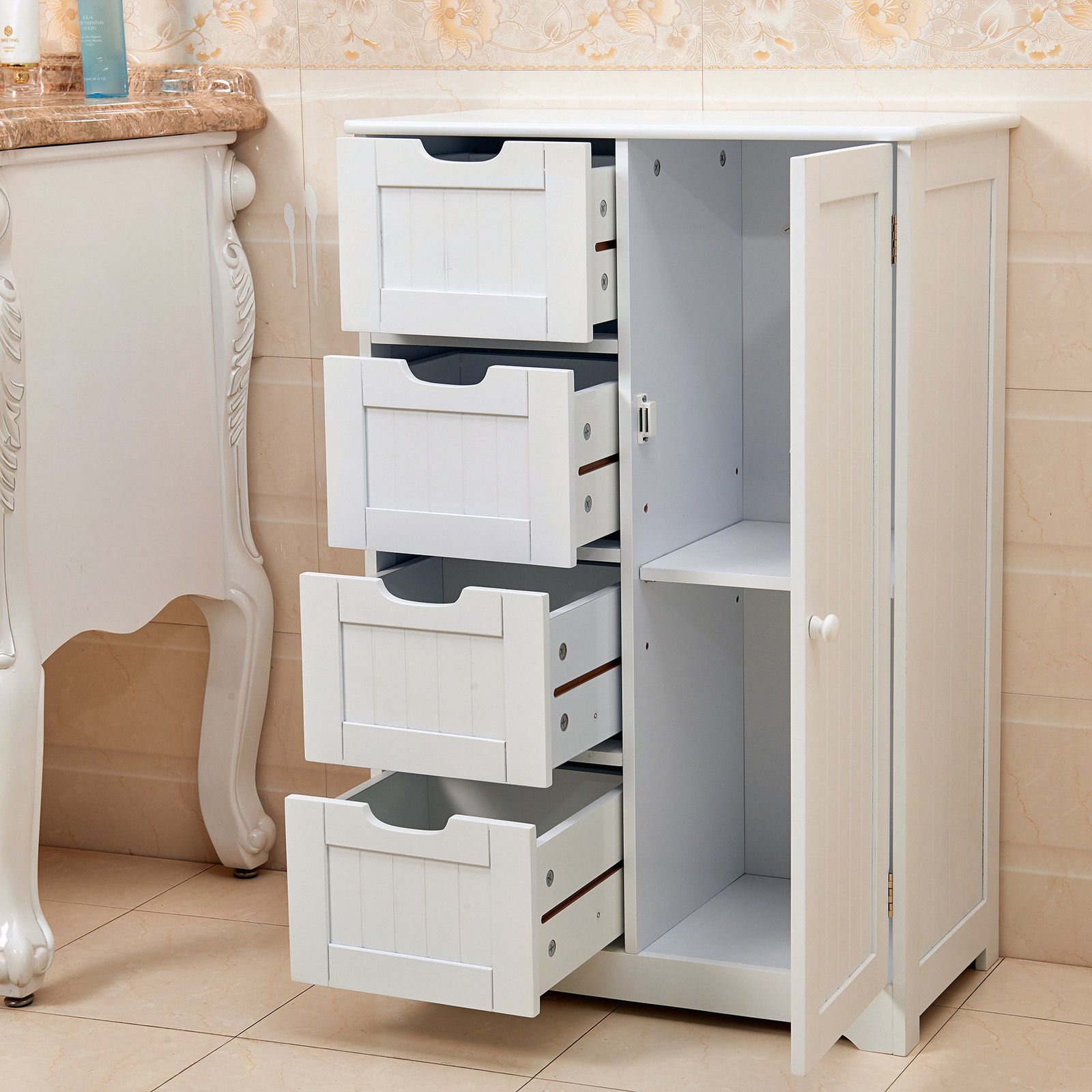 new white wooden cabinet with 4 drawers cupboard storage bathroom or