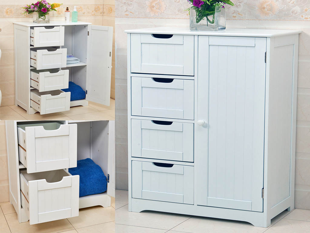 New White Wooden Cabinet With 4 Drawers Cupboard Storage Bathroom Or Bedroom Ebay