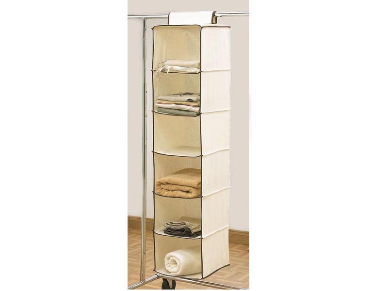 Merveilleux New 6 Shelves Hanging Cream Wardrobe Storage Unit Clothes