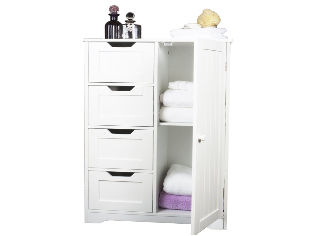 white wooden cabinet w 4 drawers glass cupboard storage bathroom