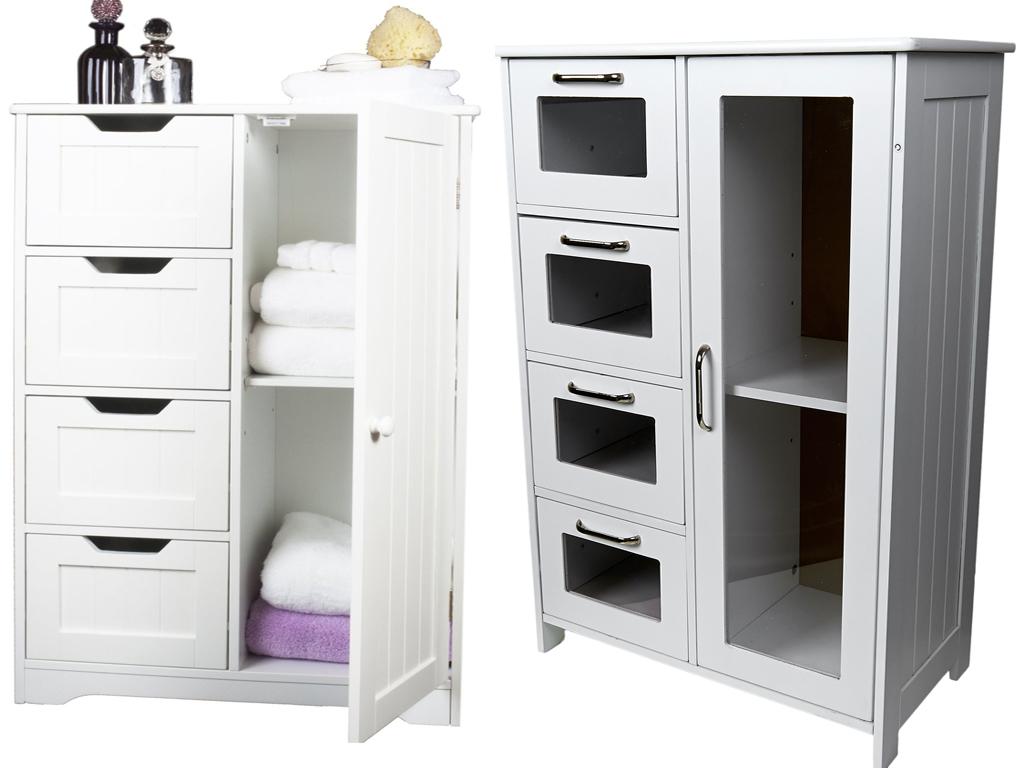 white wooden cabinet w 4 drawers glass cupboard storage bathroom