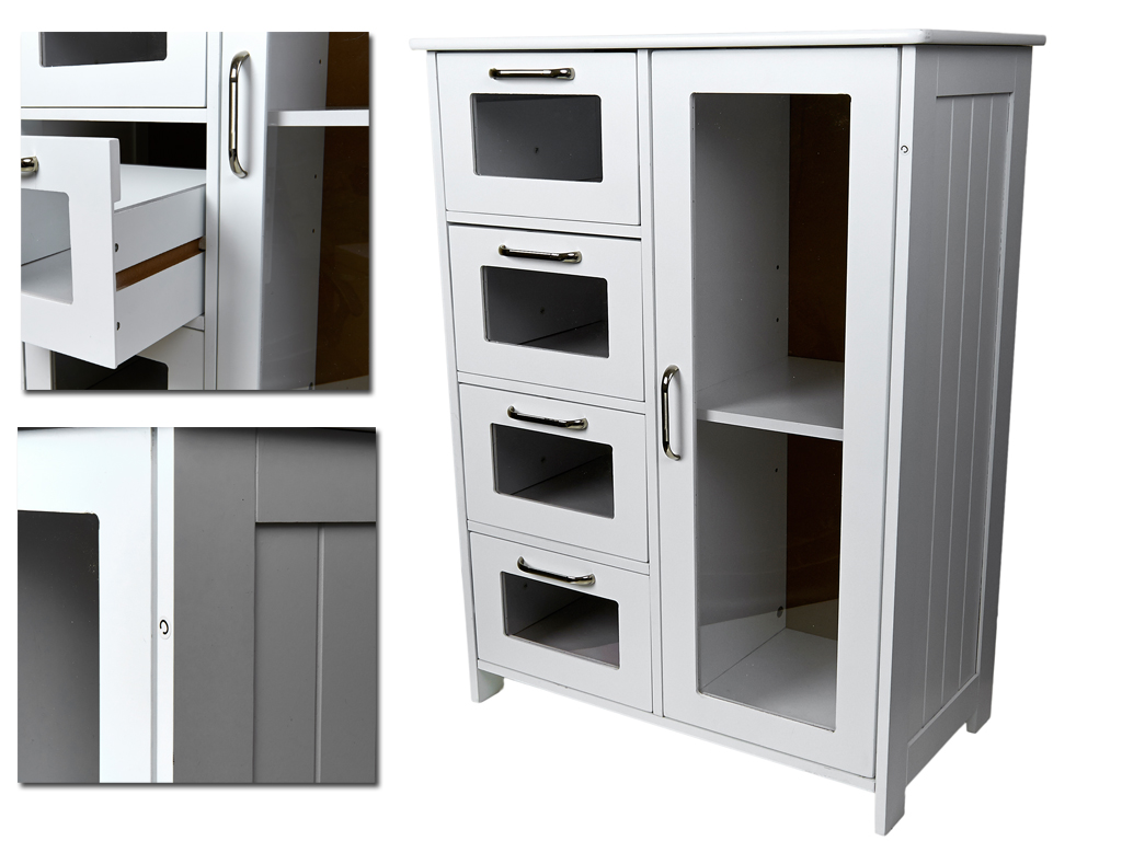 WHITE WOODEN CABINET W 4 DRAWERS GLASS CUPBOARD