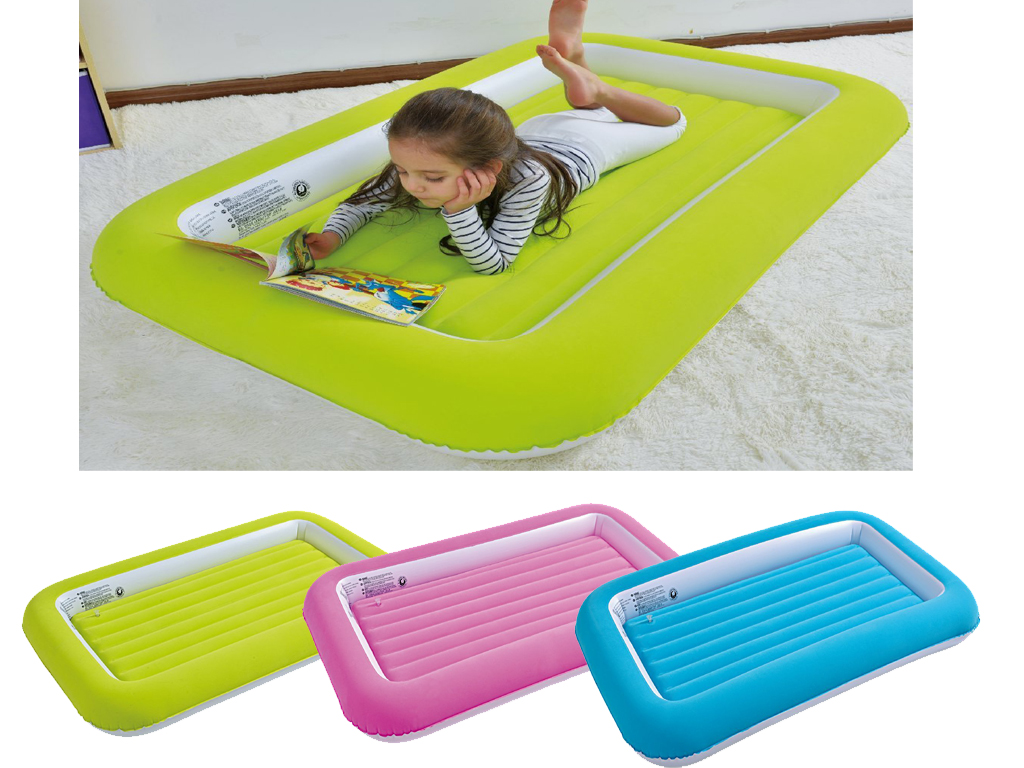 KIDS CHILDRENS INFLATABLE SAFETY FLOCKED KIDDY AIR BED ...