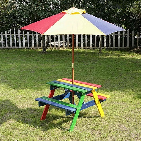Wooden Rainbow Garden Picnic Table Bench Parasol Set Kids