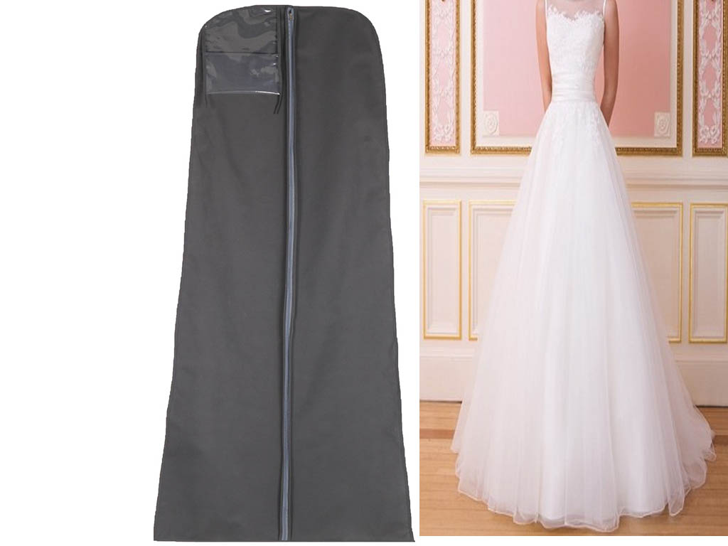 Hanging wedding bridal prom dress garment gown cover suit for Storing wedding dress in garment bag