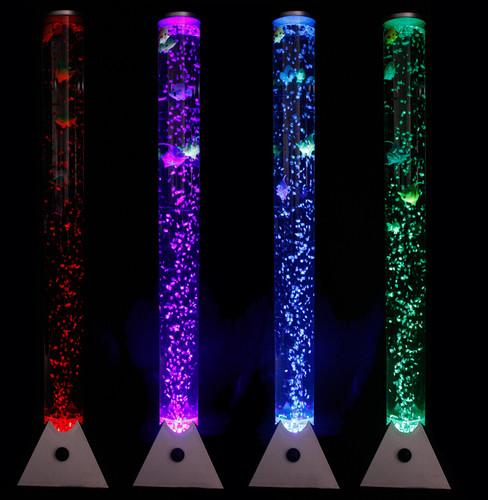 Colour Changing Led Novelty Aquarium Sensory Bubble Fish Tube Floor Lamp Lights Ebay