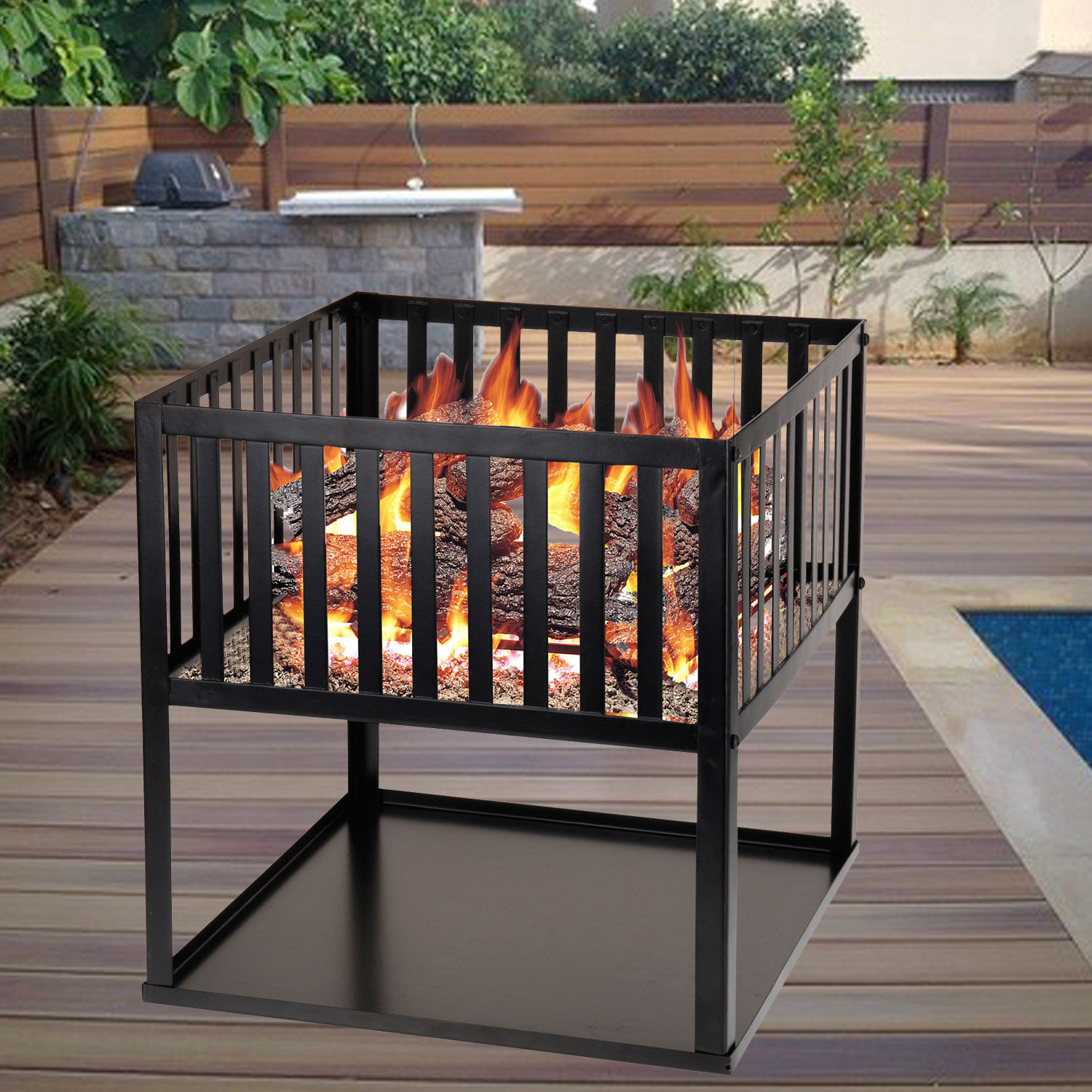 Garden Wood Log Burning Fire Basket Pit Outdoor Patio