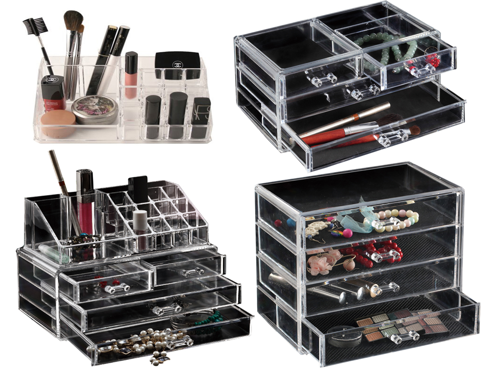 choice of 6 clear acrylic cosmetic organizer makeup. Black Bedroom Furniture Sets. Home Design Ideas