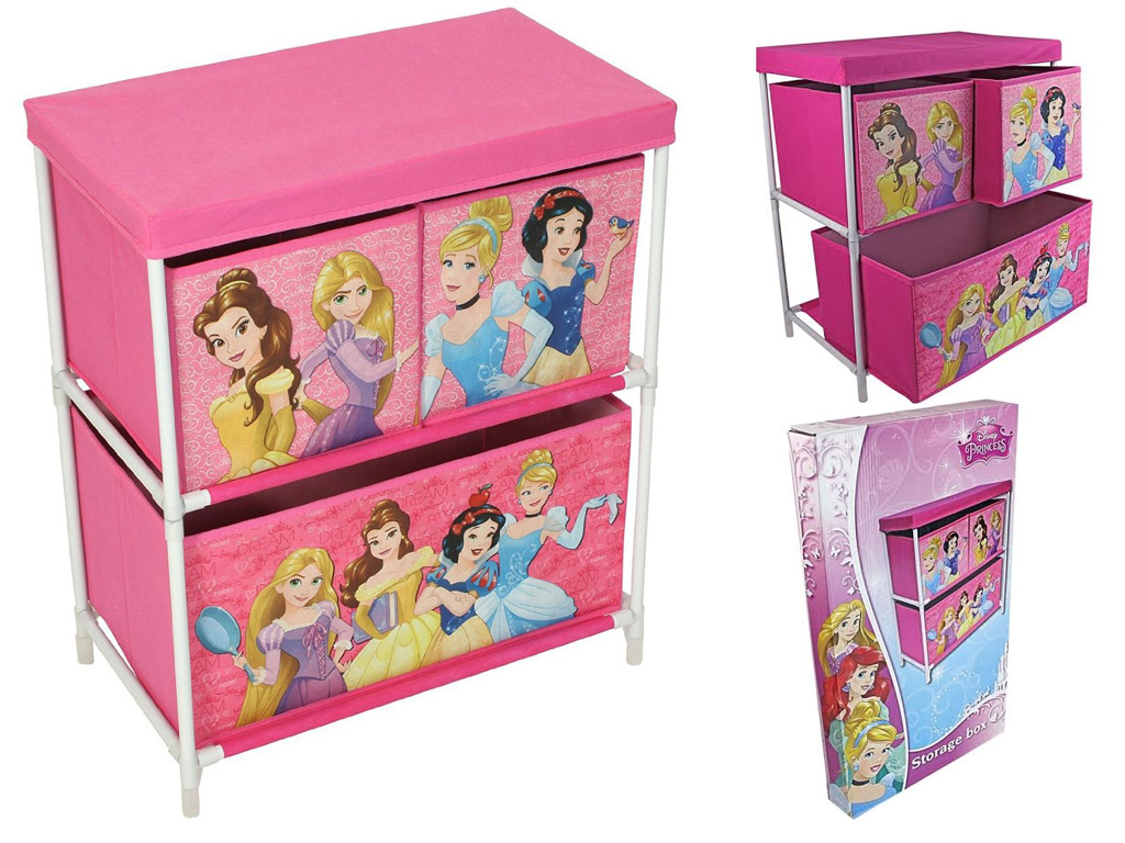 DISNEY PRINCESS GIRLS 3 DRAWER TOY CLOTHES CANVAS STORAGE UNIT ORGANISER  PINK