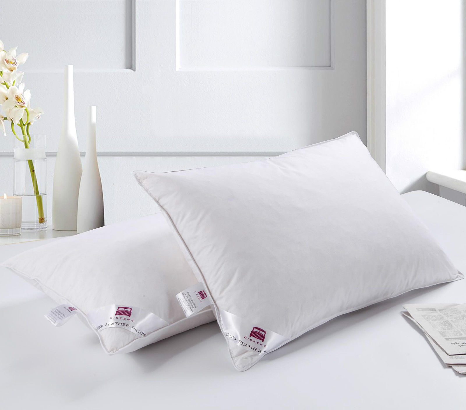Hotel Collection Down Pillow Firm: 2 DICKENS LUXURY DUCK FEATHER & DOWN PILLOW EXTRA FILLING
