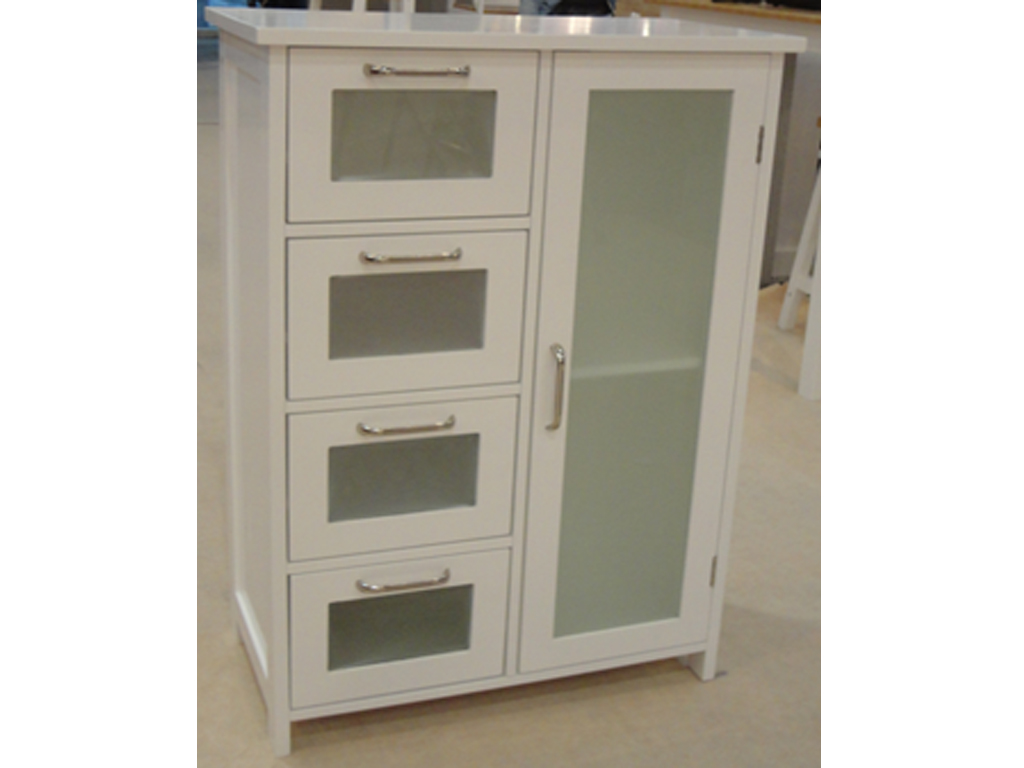 White wooden cabinet 4 glass drawers cupboard storage for Cupboard and drawers