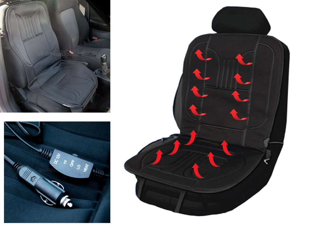 12V HEATED CAR VAN FRONT SEAT COVER 12 VOLT PADDED THERMAL