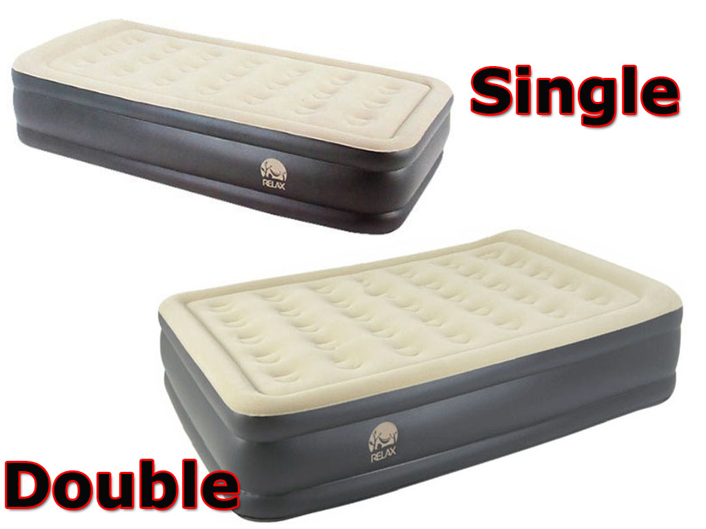 INFLATABLE SINGLE DOUBLE HIGH RAISED FLOCKED AIR BED