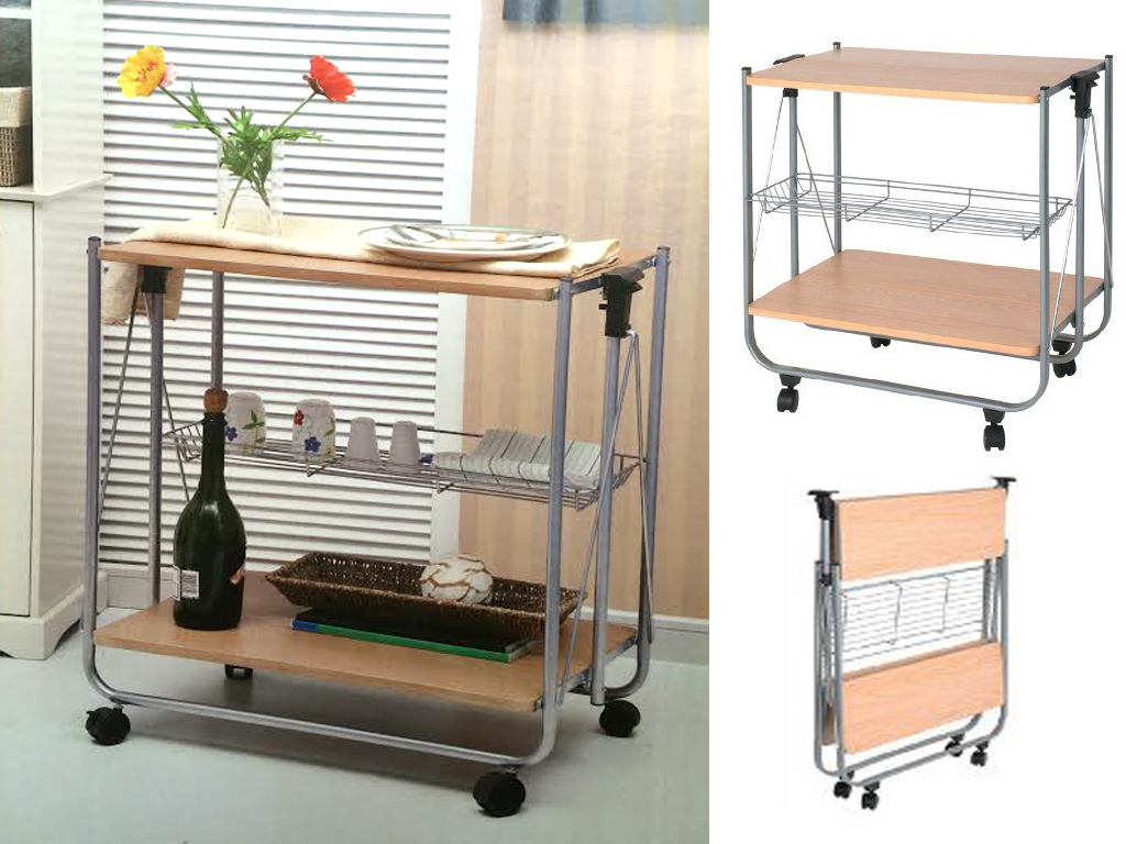 Portable folding wooden kitchen serving trolley dining for Kitchen set portable
