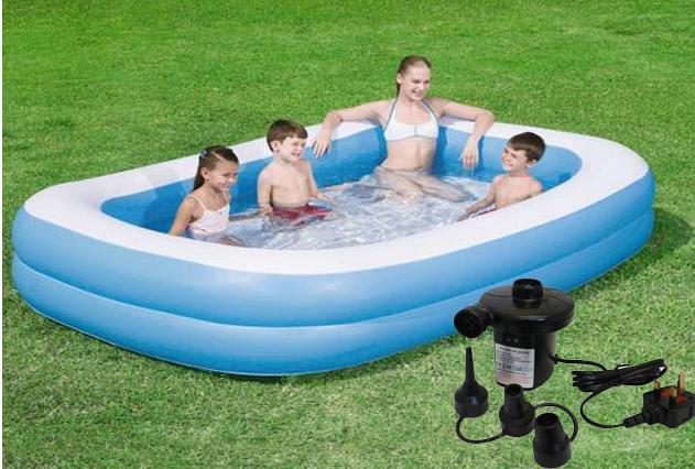 New inflatable rectangular family garden paddling swimming for Inflatable family swimming pool