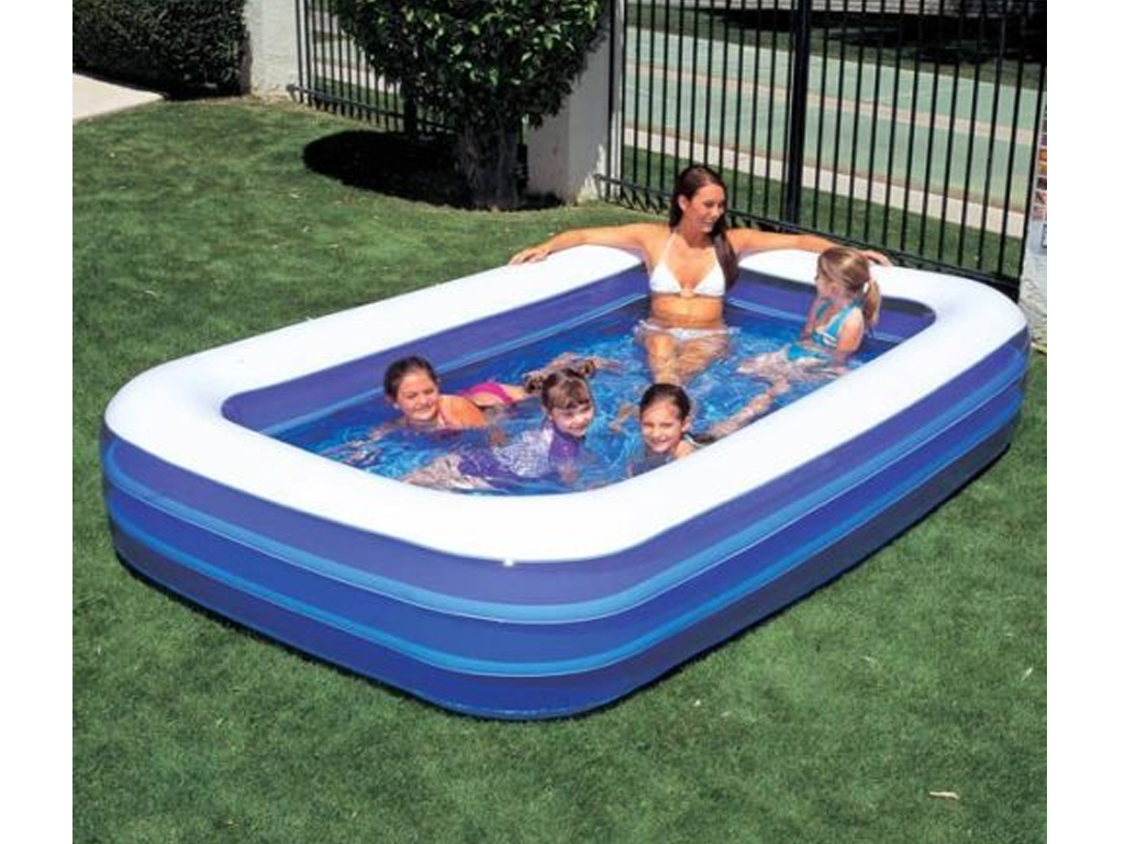 120 blue rectangular inflatable family garden paddling for Family garden pool