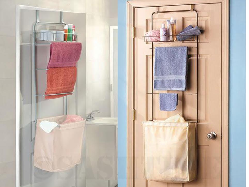 New Over The Door Bathroom Toiletries Towel Rack Shelves W Laundry Hamper Basket Ebay