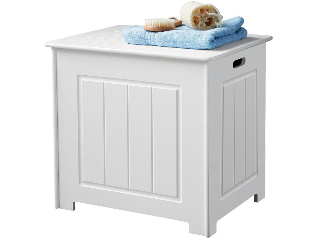 Tall bathroom storage cabinet with laundry bin for Bath storage net
