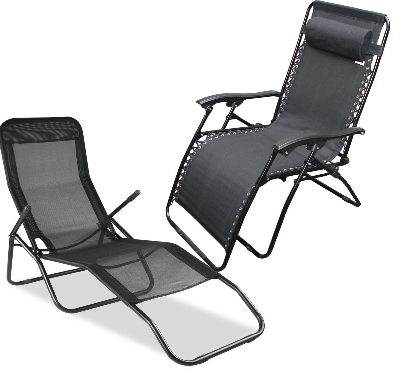 Folding Gravity Sun Lounger Deck Chair Recliner Garden Bed