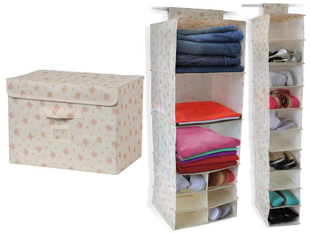 Vintage chintz canvas 9 section clothes 10 shoe storage box organiser shelves ebay - Shoe box storage shelves ...