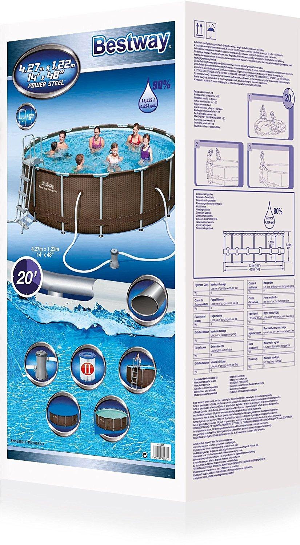 Bestway 14ft Rattan Swimming Pool Filter Pump Ladder