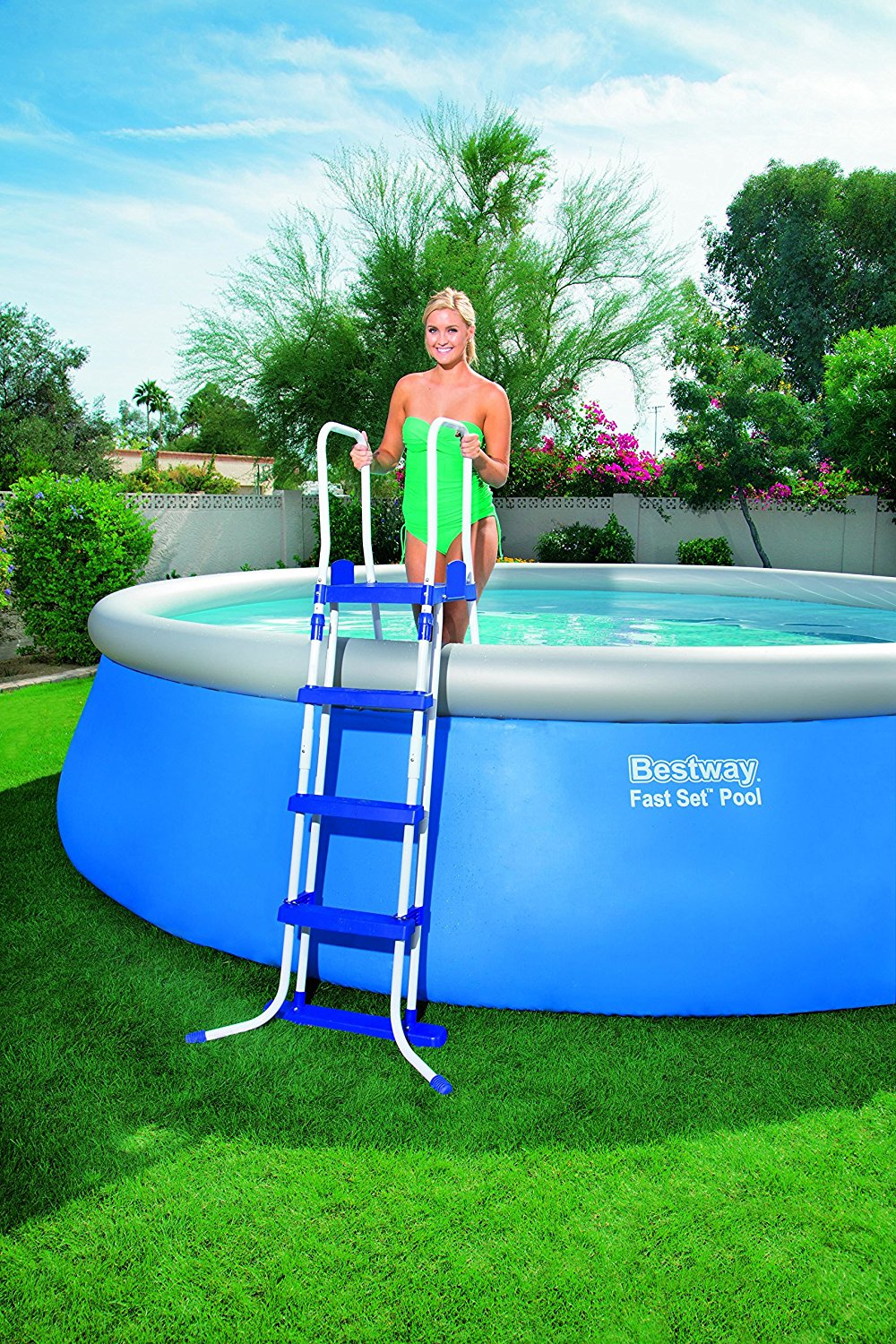 Bestway 14ft rattan swimming pool filter pump ladder garden steel pro frame set ebay - Steel frame pool ...