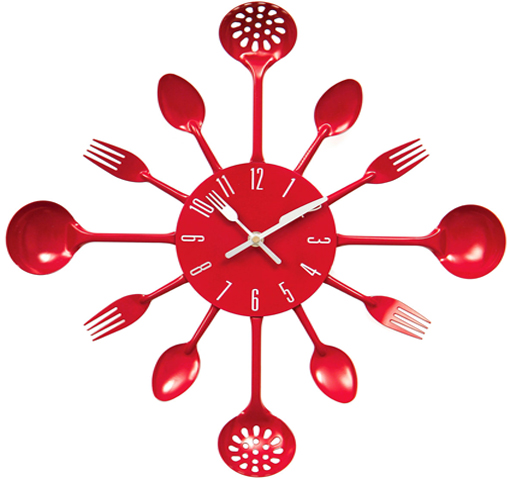 KITCHEN CUTLERY UTENSIL WALL CLOCK SPOON FORK LADLE CLOCK