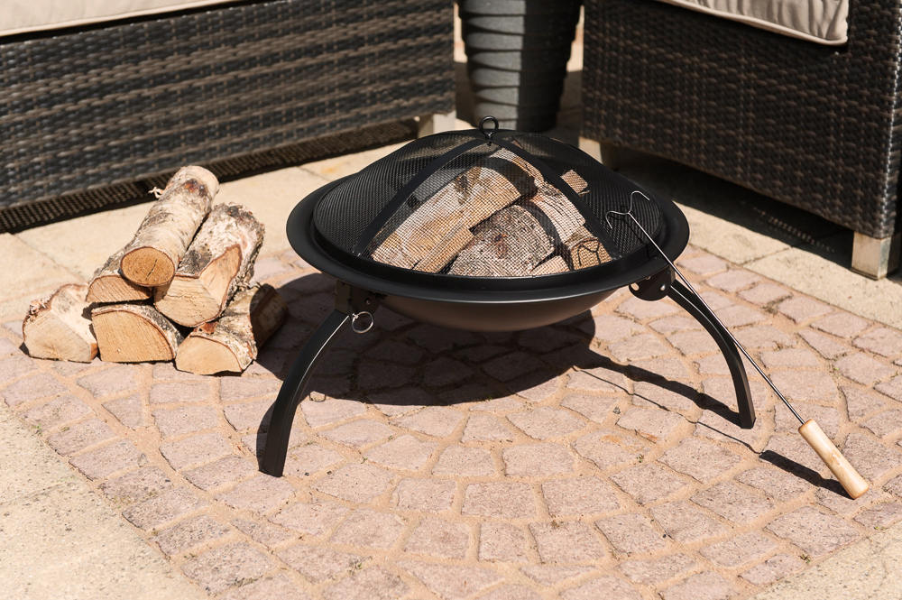 Round Fire Pit Folding Patio Garden Bowl Outdoor Camping
