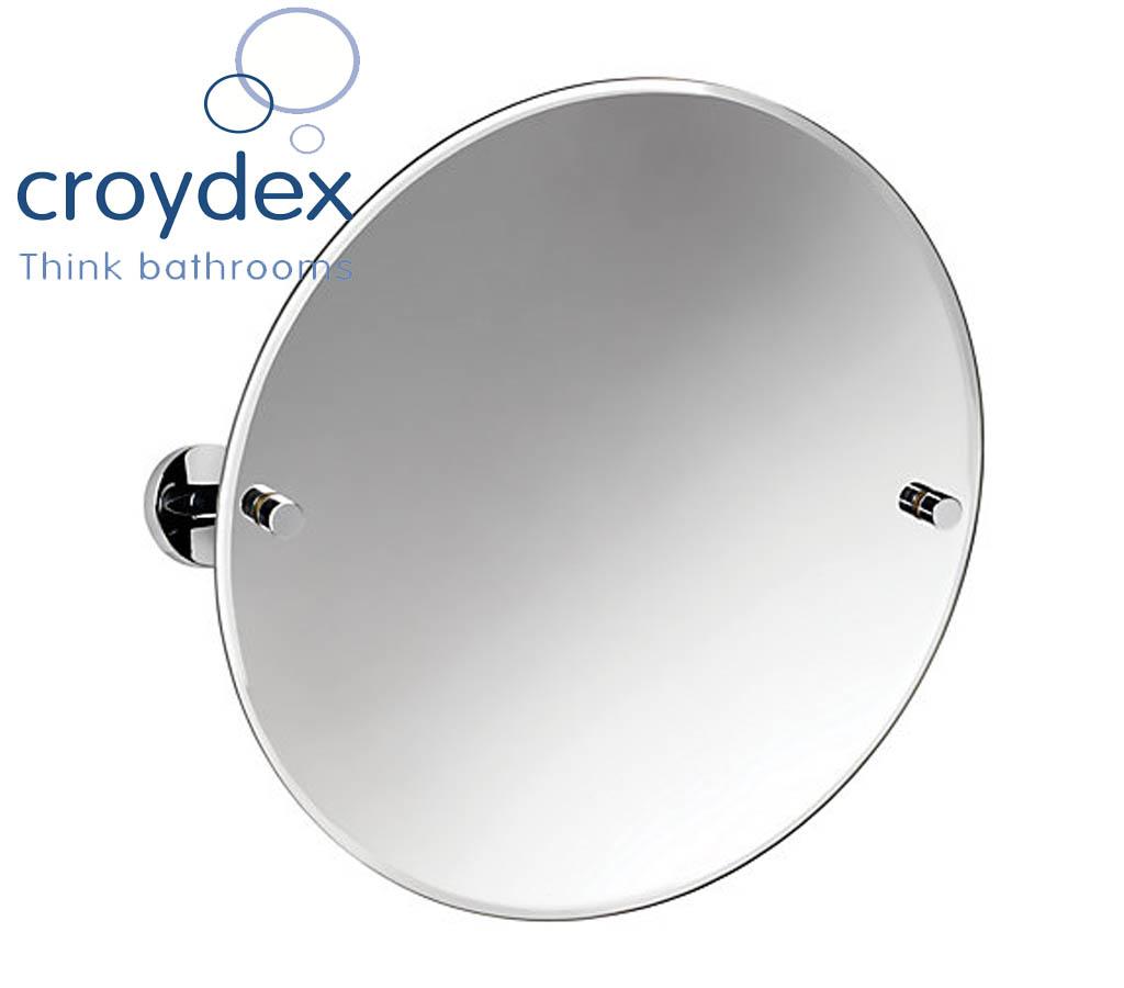 CROYDEX CHROME PENDLE ROUND SWIVEL BATHROOM MIRROR BATH WALL MOUNTED VANITY NEW