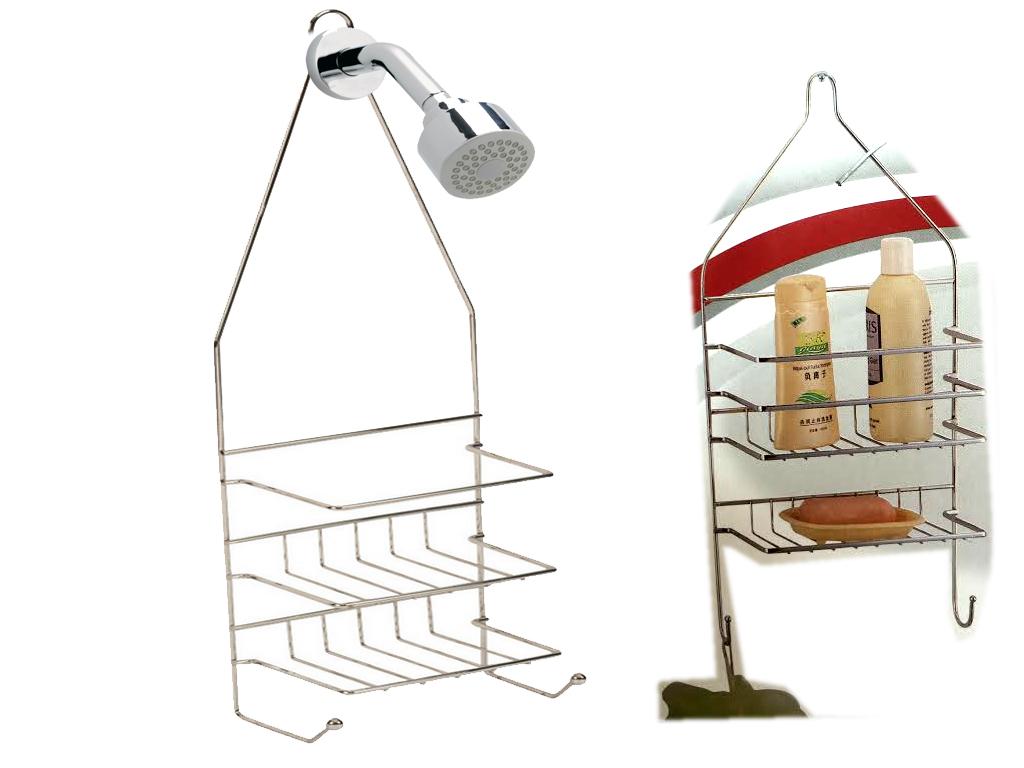 chrome 2 tier hanging shower caddy rack tidy basket. Black Bedroom Furniture Sets. Home Design Ideas