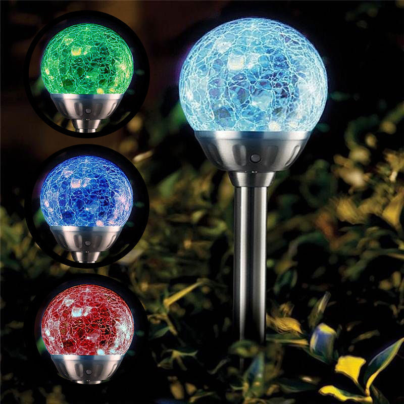 COLOUR CHANGING SOLAR POWER CRACKED GLASS CRYSTAL BALL