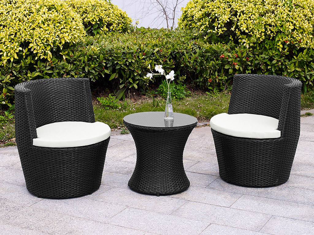 VERONA 3 PC RATTAN GARDEN PATIO FURNITURE VASE SET TABLE & 2 CHAIRS STACK