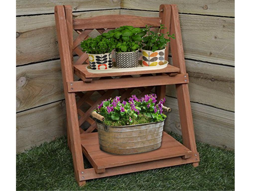 2 Tier Wooden Pot Plant Planter Shelf Flower Herb Shelves