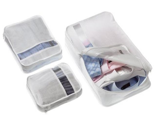set of 3 suitcase organiser bag packers tidy case luggage. Black Bedroom Furniture Sets. Home Design Ideas
