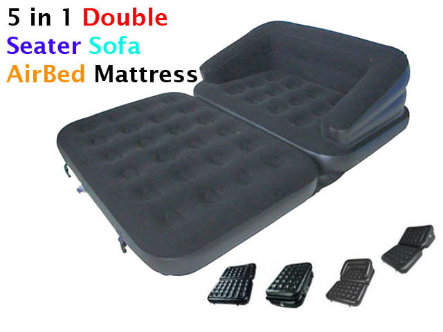 New 5 In 1 Inflatable Double Flocked Sofa Couch Bed