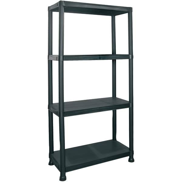 new 4 tier black plastic shelving shelves storage unit ebay. Black Bedroom Furniture Sets. Home Design Ideas