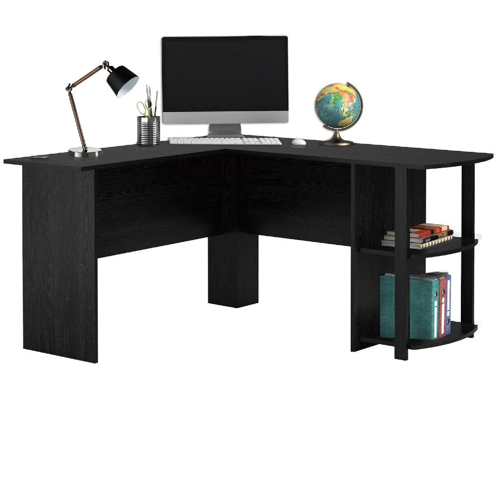 Livivo l shape white office computer desk with book shelves wooden corner table ebay - Corner desks with shelves ...