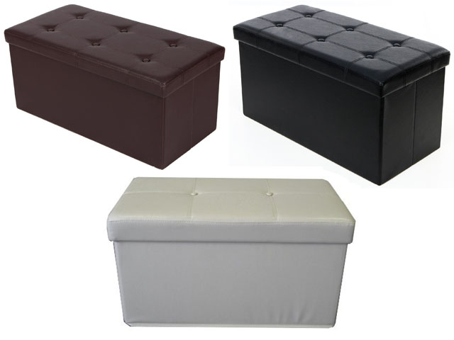 Image is loading 2-Seater-Double-Large-Folding-Storage-Faux-Leather- - 2 Seater Double Large Folding Storage Faux Leather Ottoman Pouffe