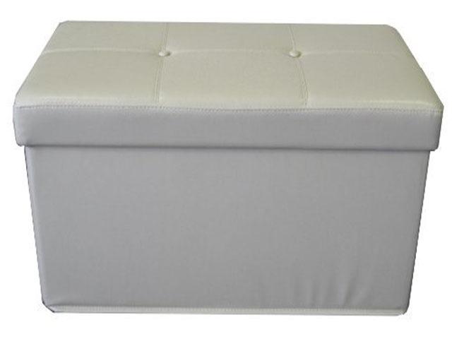 black faux leather ottoman storage box seat 2