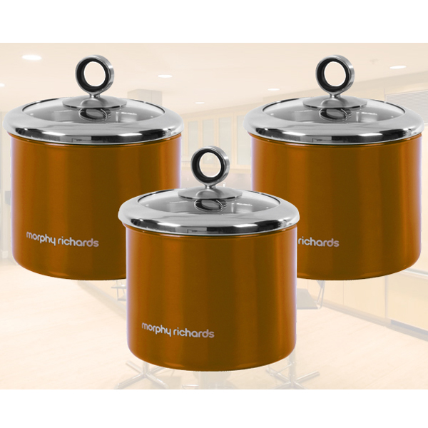 Designer Tea Coffee Sugar Storage Jars >> MORPHY RICHARDS COPPER 3PC TEA COFFEE SUGAR STORAGE CANISTERS STORAGE JAR POT | eBay