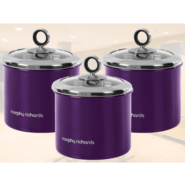 Stainless Steel Window Canister Set 3 Pc >> MORPHY RICHARDS PLUM PURPLE 3PC TEA COFFEE SUGAR STORAGE CANISTERS STORAGE POT | eBay