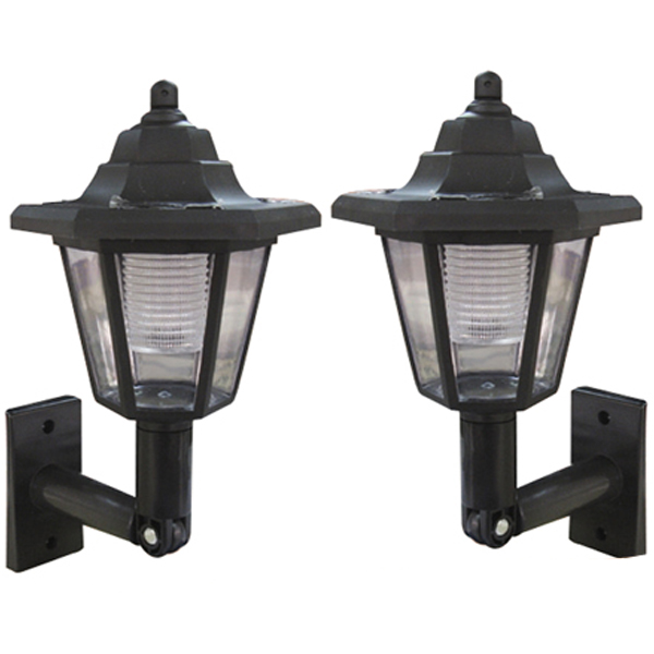 Wall Mounted Solar Lamps : SET OF 2/4/6 BLACK ELEGANT WALL MOUNT OUTDOOR SOLAR POWER LANTERN LAMP LIGHT